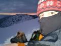 ráno po noci na sněhu pod Chlebom